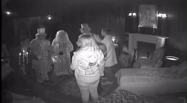 The hitchhiking ghosts serenaded the Medina family in the Haunted Mansion on Saturday< Aug. 9, 2014. (Credit: Disneyland)