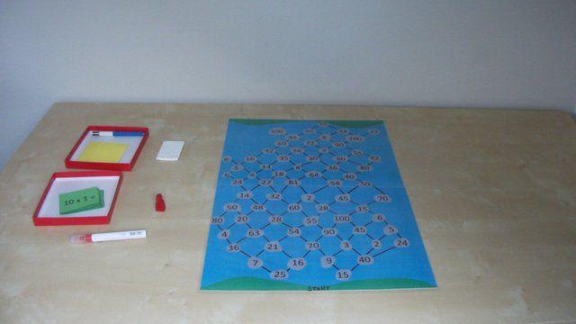 maaltafelspel 2de leerjaar: Help opa naar de overkant van de rivier. Coöperatief - verdeelde informatie.