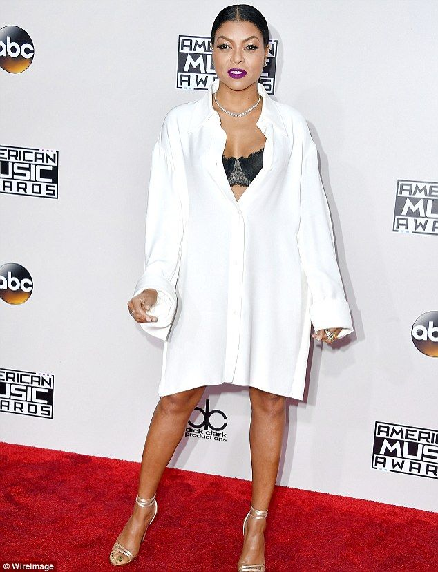 Hollywood star: Taraji P. Henson flashed her black bra on Sunday at the American Music Awards in Los Angeles