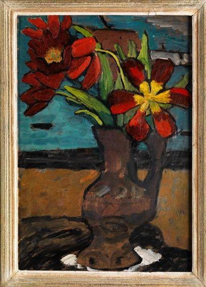 Gabriele Münter, Tulips in brown jar