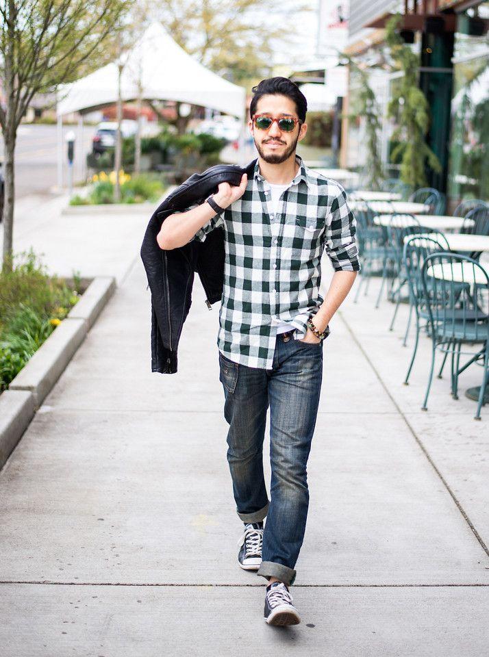 Kenji S - Komono Sunglasses, Asos Shirt, Energie Jeans - Gingham Casual | LOOKBOOK