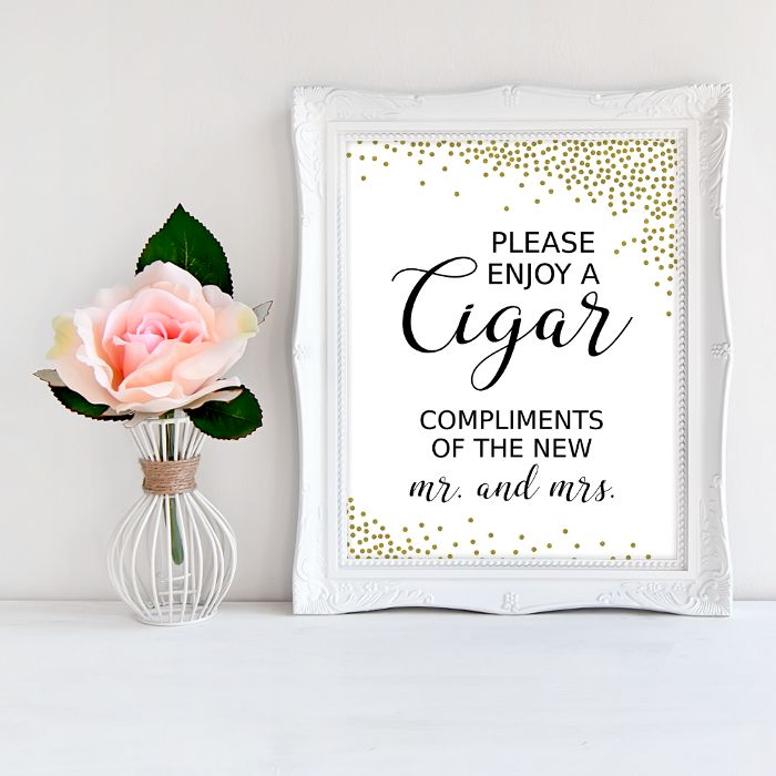 Impress the guests with your wedding decor! Add a personal touch to your special day with this charming 'Cigar bar' sign! #printable #wedding #weddingsigns #signage #SHdesigns