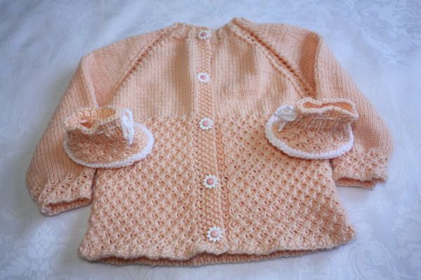 Dainty Daisies Cardigan and Booties-Knit