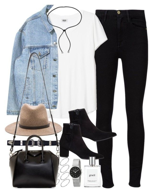 """""""Outfit for a day out with a denim jacket and jeans"""" by ferned on Polyvore featuring Frame Denim, ASOS, rag & bone, Stuart Weitzman, Givenchy, philosophy, Skagen and Lanvin"""