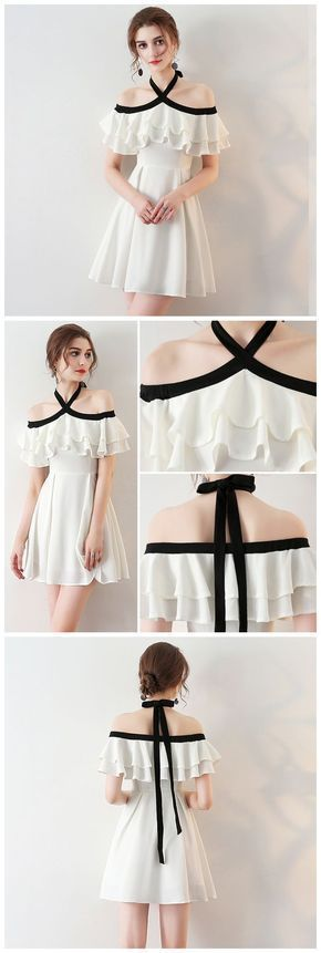 CHIC HALTER HOMECOMING DRESS SIMPLE WHITE CHEAP SHORT PROM DRESS AM060 #shortpromdresses