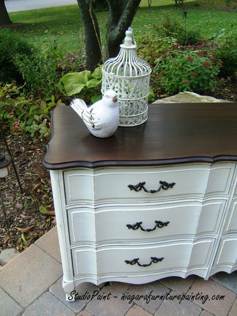 French Provincial Dresser AS Old White  Java Gel Stain www.niagarafurniturepainting.com