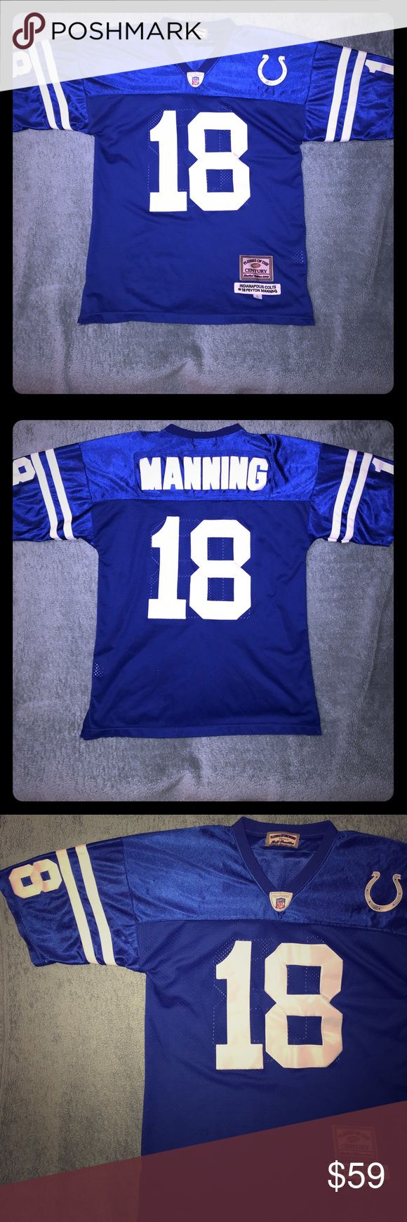 """Peyton Manning Indianapolis Colts """"Century"""" Jersey For sale is a quarterback Peyton Manning Indianapolis Colts #18 Jersey. This jersey is part of the """"Players of the Century"""" series produced by Jeff Hamilton from 2004. Limited item and production. All letters, numbers and logos are sewn. As close to custom design as they come! Jersey is a Size 50, Large, and in excellent used condition with minimal fabric wear, and no rips, tears or stains. Jeff Hamilton Shirts Tees - Short Sleeve"""