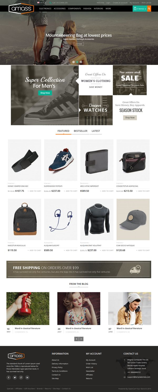 Amass #Opencart #Responsive Theme is specially designed for #sports, #fitness, #electronics, #fashion and multipurpose #stores.