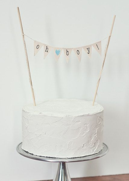 Oh Boy Cake Top Banner / Custom Baby Shower Cake Topper