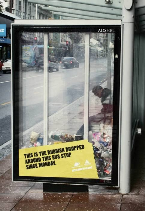 Colenso BBDO Auckland showed pedestrians just how much rubbish is dropped around one bus shelter in one week