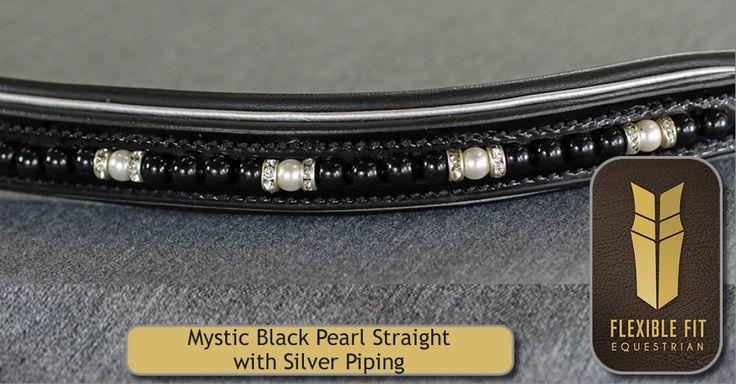 Patent Mystic Black Swarovski Pearl & Crystal Rondel English Leather Flexi-Fit Gel Padded Browband - Black