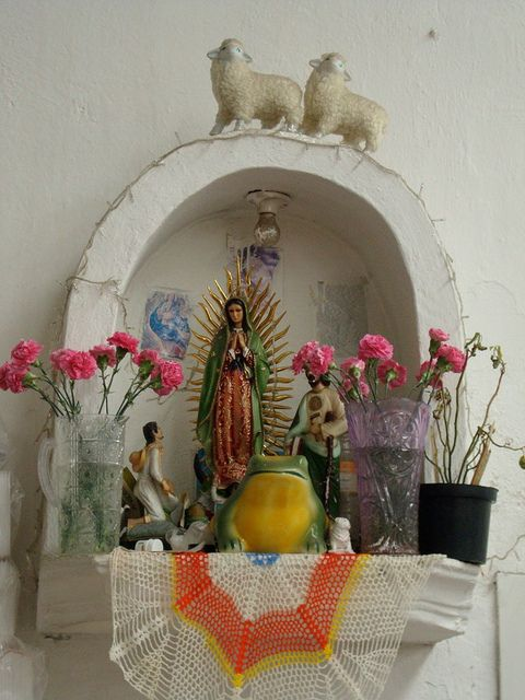 LA VIRGEN DE GUADALUPE/ Our Lady of Guadalupe~altar in valle De Bravo Mexico. Capture the authentic spirit of Mexico at http://www.lafuente.com/Mexican-Art/Religious-Folk-Art/