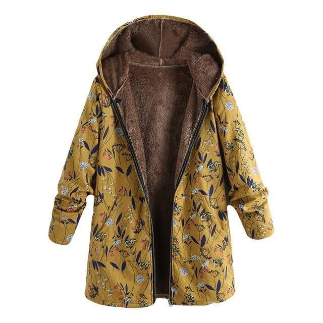 Outwear Plus size Oversize Hooded Lined Coat Winter Warm Fleece Cotton Stylish