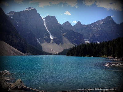 "The Valley of the Ten Peaks, and Moraine Lake, from the Canadian twenty dollar bill! Find out more at ""Down the Wrabbit Hole - The Travel Bucket List"". Click the image for the blog post."