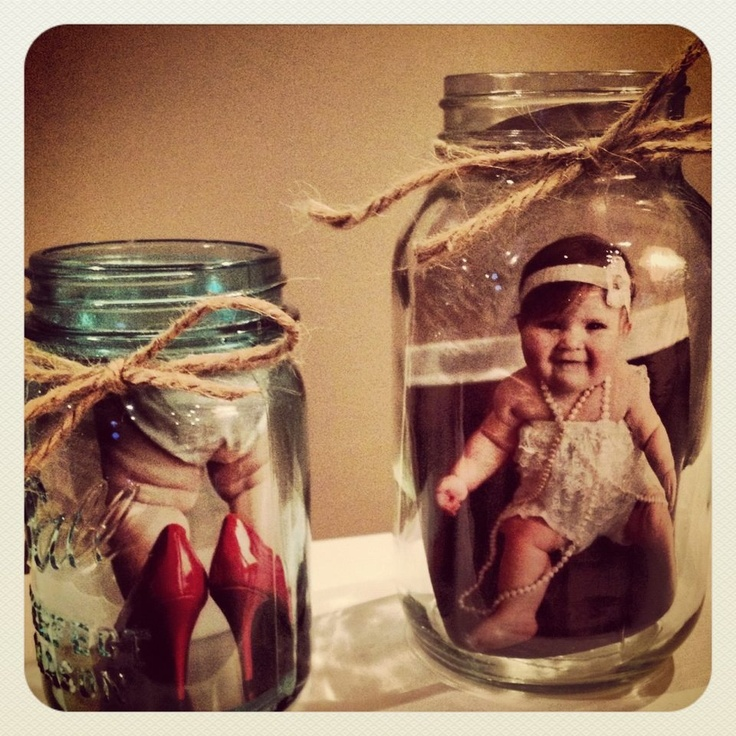 Mason jars with pictures in them, how fun!