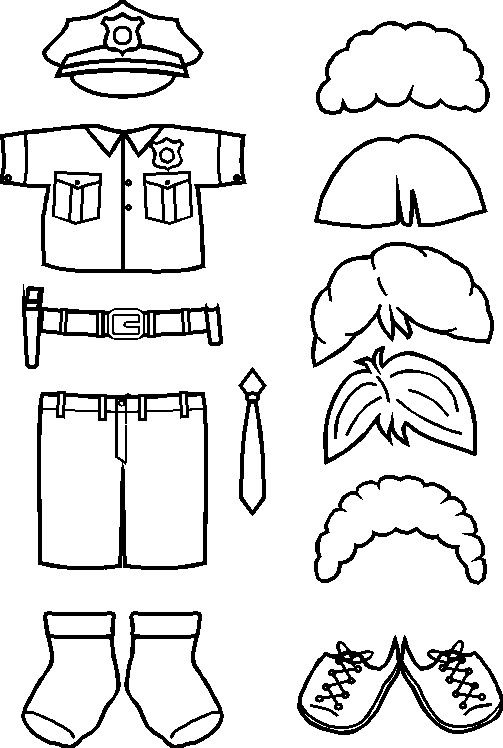 paper doll Police Friends clothes