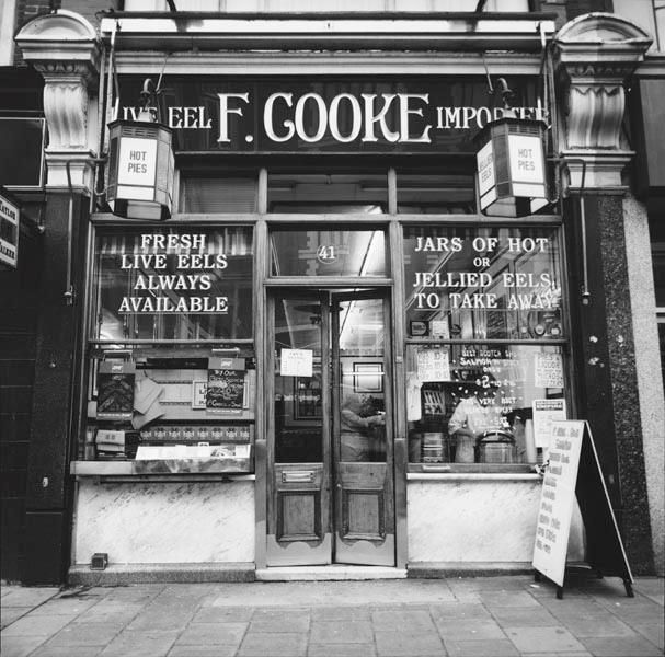 F. Cooke's eel and pie shop, opened in 1910 at 41 Kingsland High Street