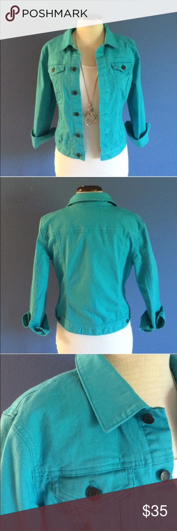 """Talbots Turquoise Jean Jacket A jean bracket is a staple in every closet. However,this one makes a statement of its own!  Add a little color to your wardrobe.  Sleeves come down to the wrist (rolled up in the picture.). This jacket looks great with everything. Pair with white pants, skirt or capris for a bold look. Material:  98% Cotton/ 2% Spandex.  Measurements (Flat):  Length - 21""""/Bust - 20"""" Talbots Jackets & Coats Jean Jackets"""