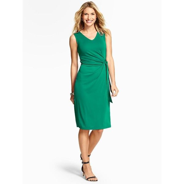 Talbots Women's City Jersey Side Tie Dress ($90) ❤ liked on Polyvore featuring dresses, plus size, tourmaline green, petite summer dresses, summer dresses, white sleeveless dress, plus size sheath dress and plus size white dress