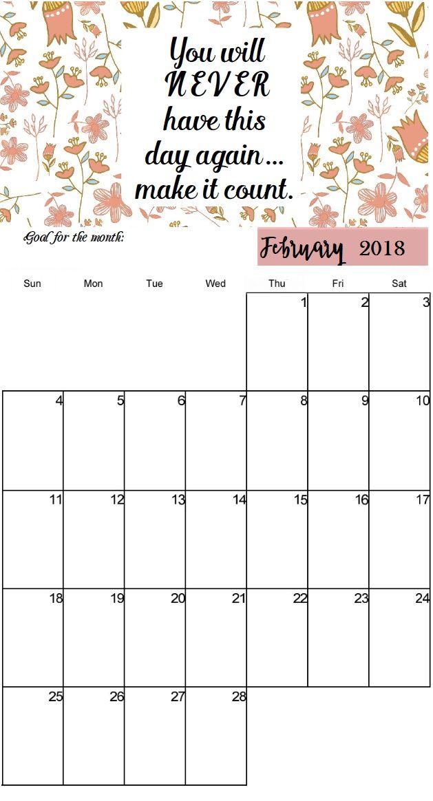 Inspiring Quotes February 2018 Calendar For Desktop Home