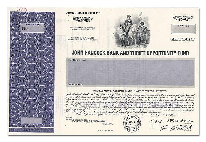 John Hancock Bank & Thrift Opportunity Fund (Specimen)