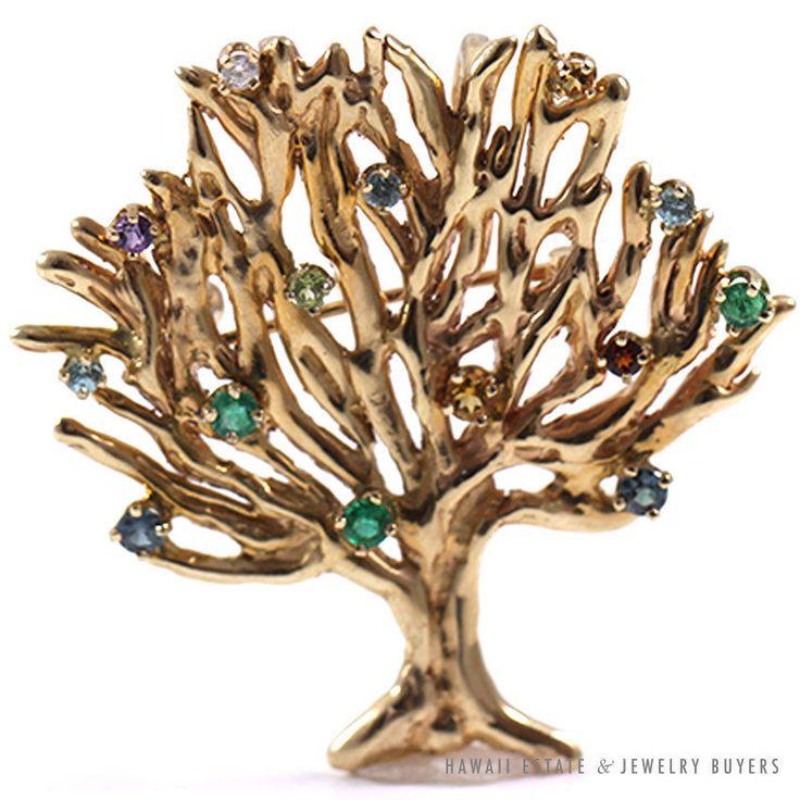 See more #vintage #jewelry #vintagejewelry on our website (link in bio!). MULTI-GEMSTONE & DIAMOND TREE 14K YELLOW GOLD PENDANT BROOCH. #gemstone #brooch #pendant #diamond #yellowgold
