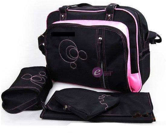 dribbleanddrool - Black and Pink Nappy Bag Set, $29.00 (http://www.dribbleanddrool.com.au/black-and-pink-nappy-bag-set/)