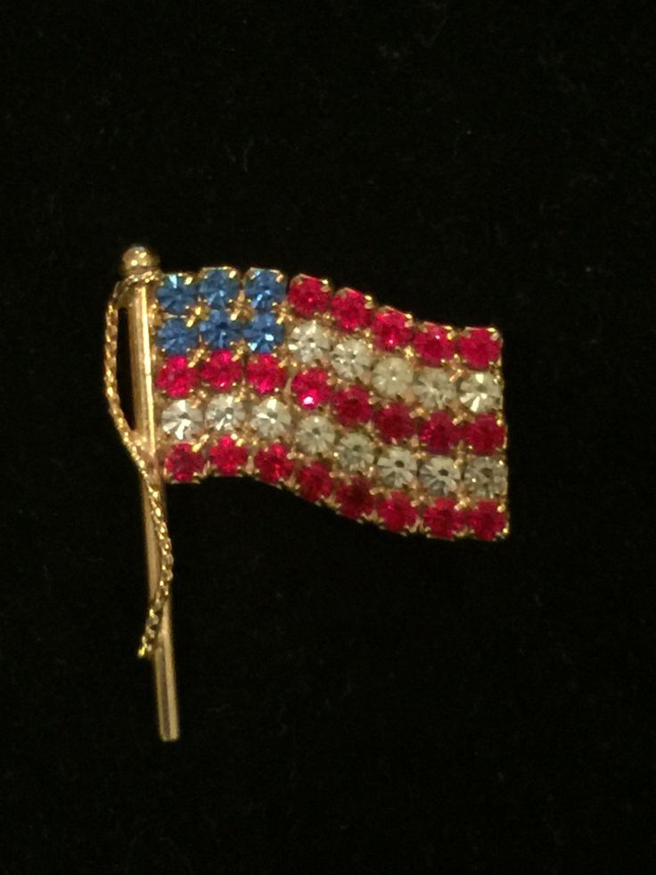 American Flag Pin Brooch Americana Jewelry, Gold Tone American Flag Pin, Red Clear Blue Stones by AuntBsTreasureBox on Etsy