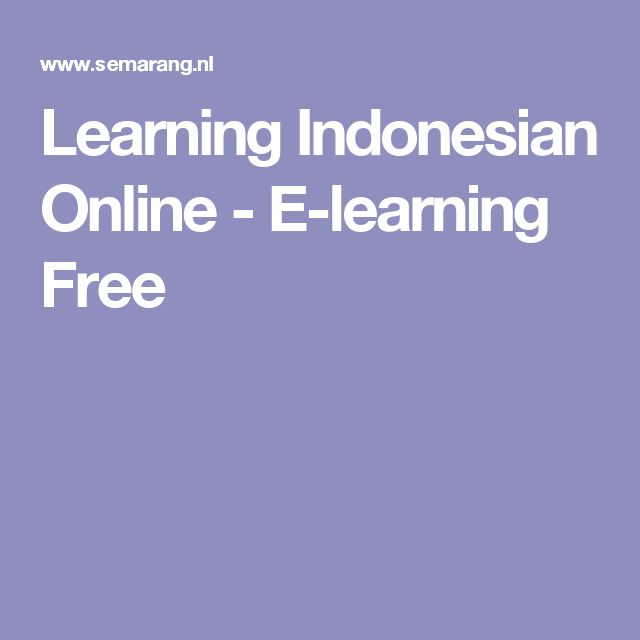 Learning Indonesian Online - E-learning Free