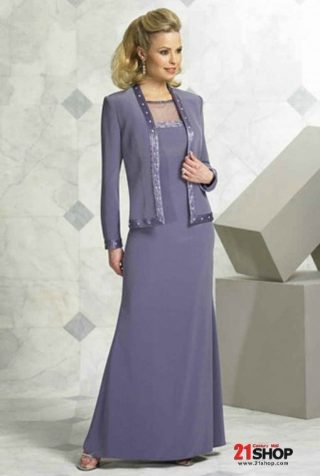 Chiffon Floor Length Long Sleeves V-neck Mother of the Bride Dress