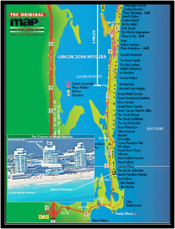 Cancun hotel map strip