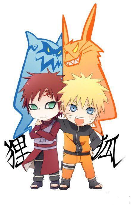 Chibi Gaara and Naruto with their tailed beasts. Aww!