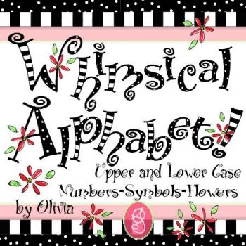 Whimsical Alphabet by Olivia is a black and white alphabet.  This set is filled with patterns of dots, stripes, swirls and decorated with red flowers.  You'll find all upper case letters, lower case letters, symbols, and numbers in this set; this means there are 69 little pieces of whimsical art included in this set.  This alphabet coordinates perfectly with anything fun, whimsical and bold.