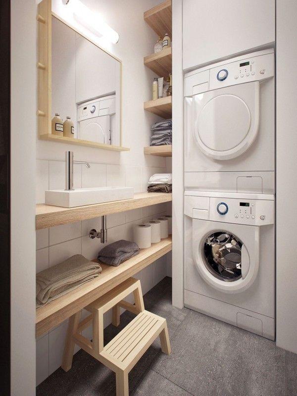 Coin buanderie dans une salle de bain avec un petit évier http://www.homelisty.com/buanderies-evier-bac-a-laver/