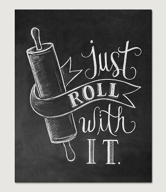 Bakery Print Kitchen Print Kitchen Art Just Roll by LilyandVal