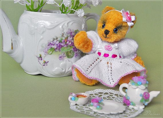OOAK Artist Bear  Solar Bear Alice Tea drinking by AldanaBears, $68.00