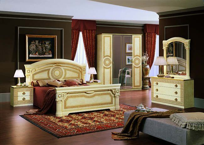 Italian Bedroom Furniture And Sets Beds Wardrobes Dressing Modrest Rococco  Classic Black Silver Set