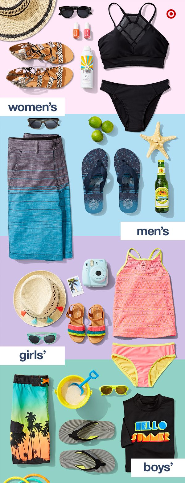 Hi, summer essentials! Get the entire family ready with the freshest swimsuits for mom, dad, girls and boys, plus, flip-flops, sunglasses, hats and of course, beach toys.