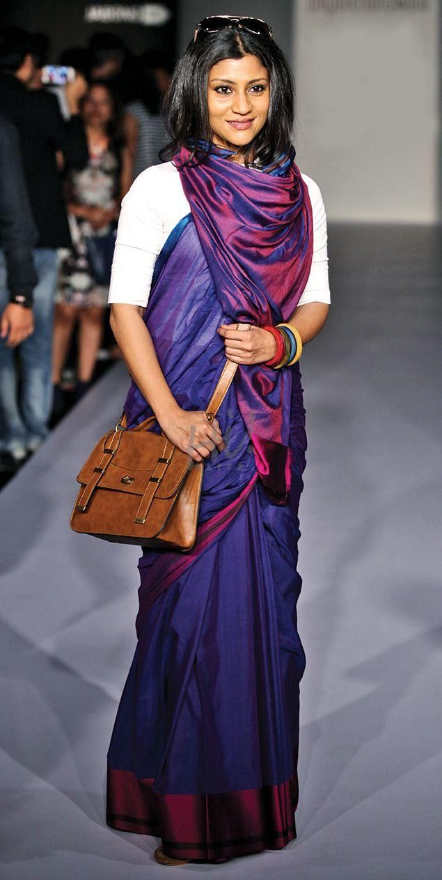 Cool Street Style Saaree Did you ever imagine that saarees can actually make really cool street style fashion? Check out how Konkona and Vidya prove this. This colourful saree that Konkona is wearing would be great for summer evenings. The colourful bangles and that bag make it look like such a chic street style.