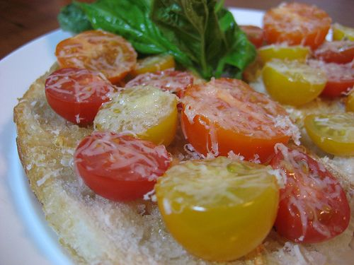 Garlic Toast with Tomatoes and Parmesan by rkosick on Flickr