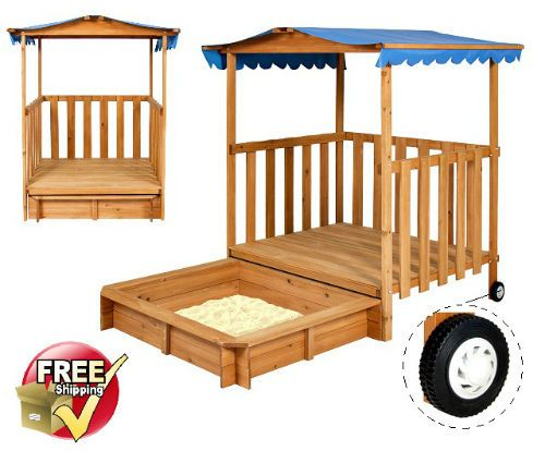Wooden Children Playhouse With Sandbox Kids Outdoor Playground Tent Backyard Toy #KidsOutdoorPlay