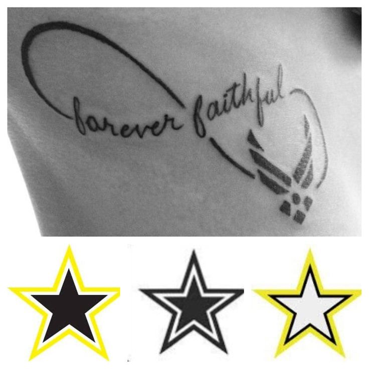 Army wife tattoo idea. Husband is deployed. The Air Force symbol will be replaced with one of the 3 Army stars.