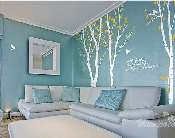 Items Similar To Three Birch Trees   Vinyl Wall Sticker  Wall Decal  Tree  Decals  Wall Murals Art   Nursery Wall Decals  Nature  Tree On Etsy Part 10
