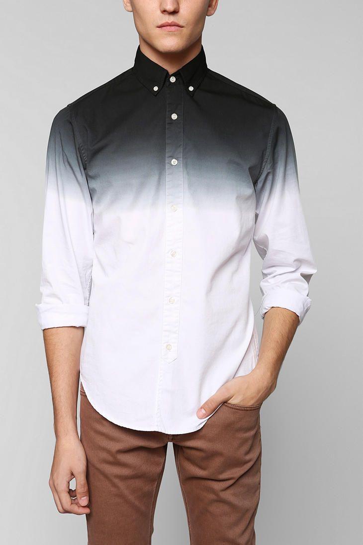 Shades of grey by micah cohen dip dye button down shirt for Mens dip dye shirt