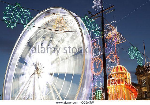 Временное Колесо Рождество Наблюдение на площади Джордж, Глазго, Шотландия, Великобритания - Stock Image