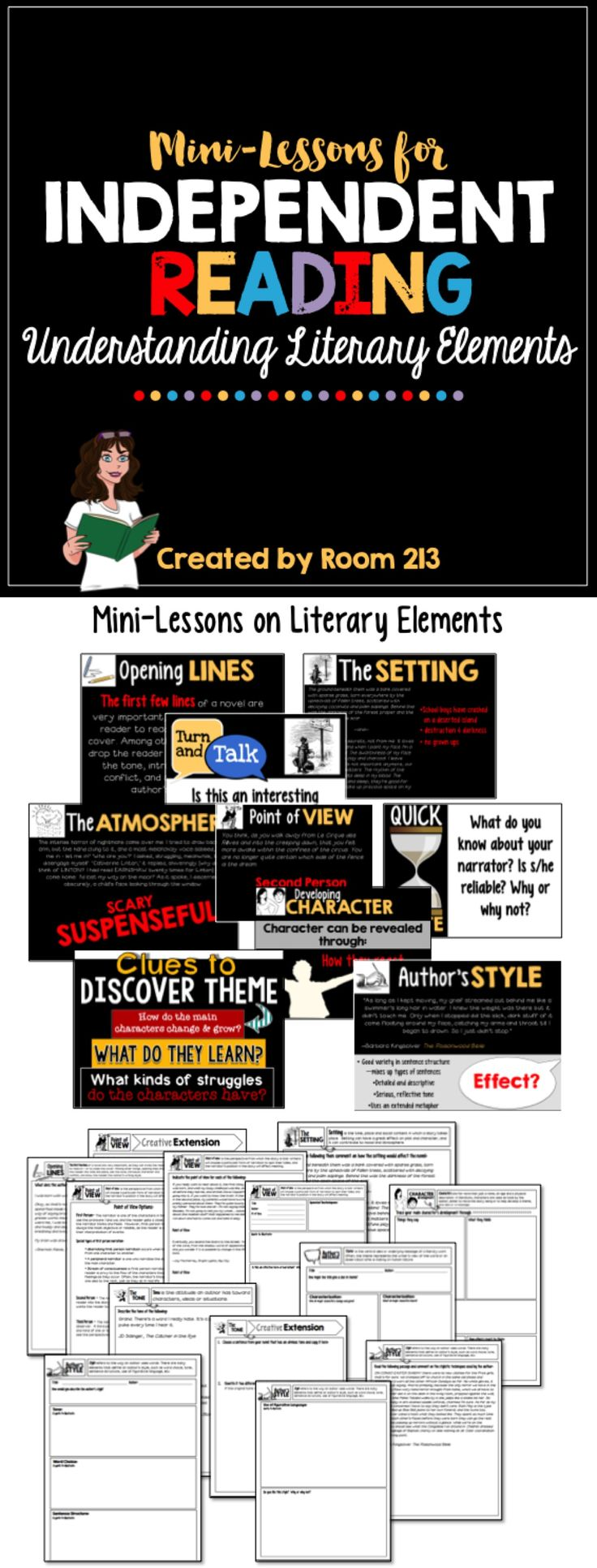 Mini-Lessons on literary elements like setting, atmosphere, theme and character.  Great for independent reading and reader's workshop in the secondary level. #reader's workshop #high school