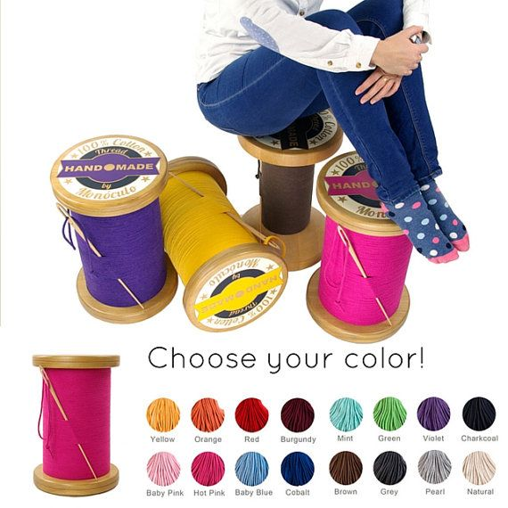 Thread Spool Stool / Wood Stool / Bobbin Stool / Thread Reel Stool / Bench  / Ottoman / Sewing Decor   Choose Your Colour!