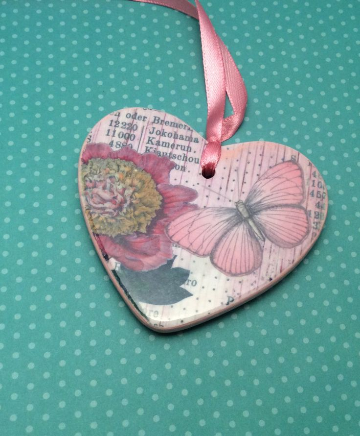 Ceramic heart, hanging heart, Mothersday gift, Vintage inspired, gift, Love heart, hanging heart, Valentine's Day, love, Decoupaged heart by DaintyDotsDecoupage on Etsy