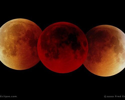 """""""Pictured here is a triple image of a total lunar eclipse on July 16, 2000, which lasted an hour and 47 minutes"""""""