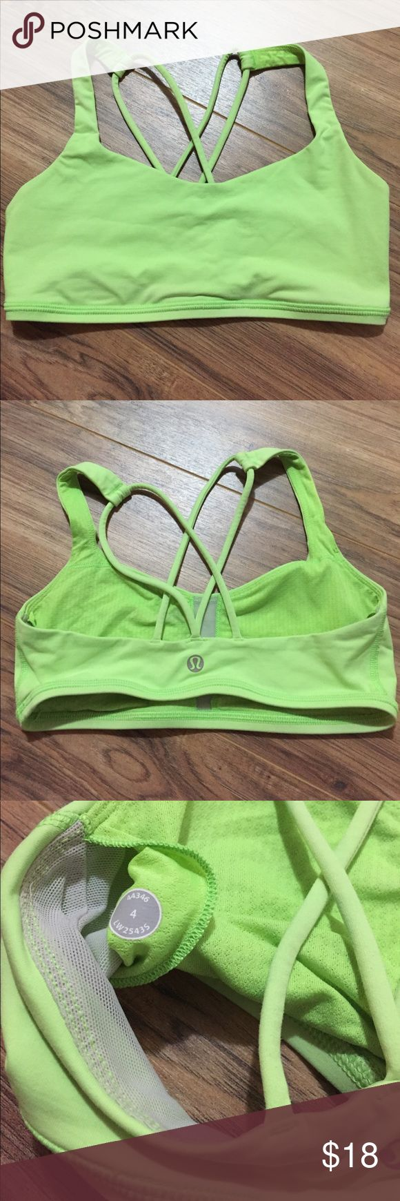 Lululemon lime green sports bra size 4 Used lime green sports bra, size 4, No pads, two straps in back, has two small stains in the front, this bra runs smaller. lululemon athletica Intimates & Sleepwear Bras